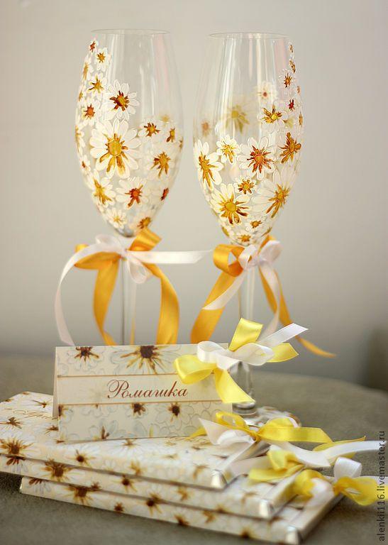 """Купить Свадебные бокалы """"Ромашки"""" - свадебные бокалы, свадебные аксессуары, бокалы на свадьбу, свадьба ромашек"""