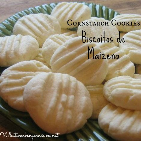 Cornstarch Cookies. Make them as a jam thumbprint.  Biscoitos de Maizena Recipe, Cornstarch Cookie Recipe, Christmas Cookie Recipes, Whats Cooking America