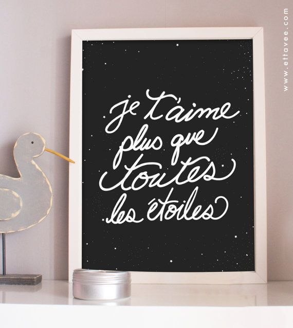 je t'aime plus que toutes les étoiles, I love you more than all the stars - art print with gold leaf flecks nursery. kids room.