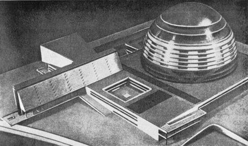 М. Я. Гинзбург. Дворец Советов. Конкурсный проект 1932 г. Макет и план