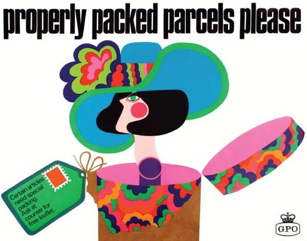 Vintage GPO poster Thomas Bund 1960s: Gpo Posters, Graphics Art, Pack Parcel, Vintage, Colours Shock, Posters Woman, Posters Thomas, Bund 1960S, Posters Ads