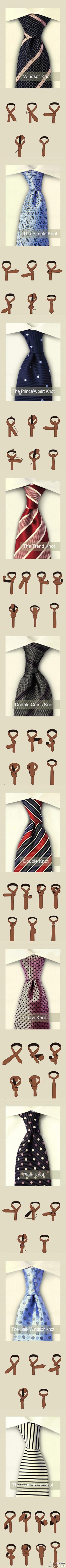 different ways to tie a tie.