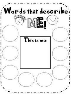 combine this sheet with adjective cloud/rainbow activity (like an acrostic poem)    this sheet could be the organizer for prewriting/planning, put one letter of first name in each circle