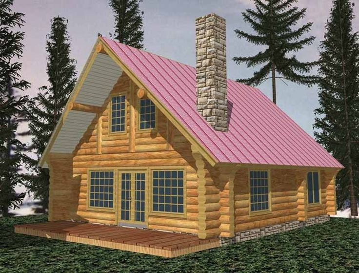 Log Houses House Plan with 1040 Square Feet and 1 Bedroom from Dream Home Source   House Plan Code DHSW58895