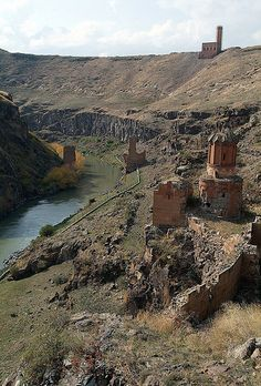 Virgins Monastery with bridge over Akhurian River and mosque @Ani