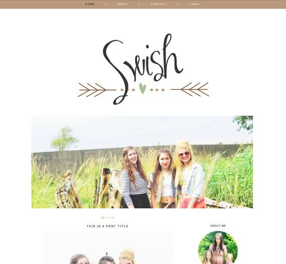 "Blog Template for Blogger ""Swish"" Blog Layout / Simple Blog Theme / Instant Download / Modern Blog Design"