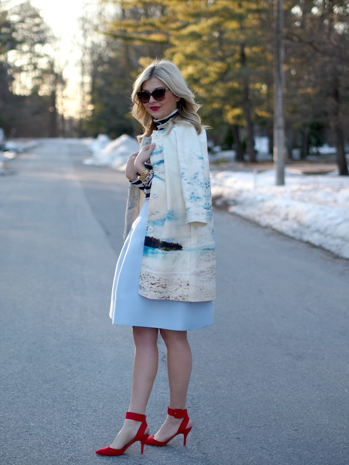 * My vintage light blue dress & red belt & red sandal  // Jacket: c/o 424 Fifth   Skirt: c/o 424 Fifth    //  Suburban Faux-Pas: Palm Beach