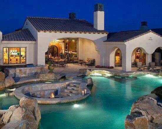 Pool with hot tube in it