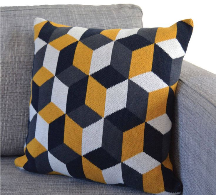 tumbling blocks cotton knit cushion by sophie home | notonthehighstreet.com