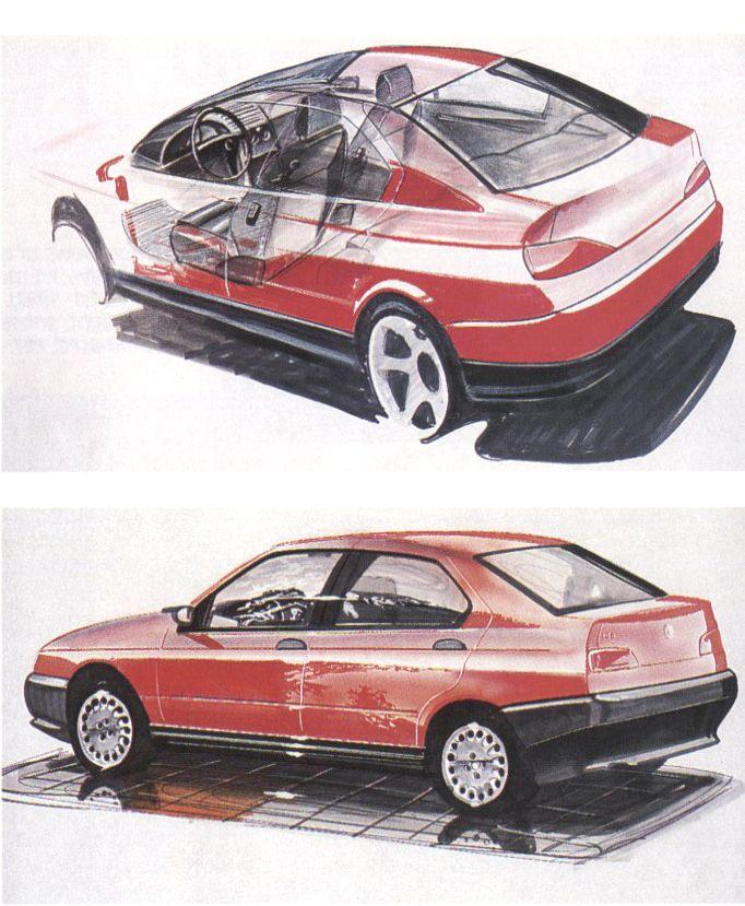 OG | 1995 Alfa Romeo 146 | Design sketches dated May 1992 Más