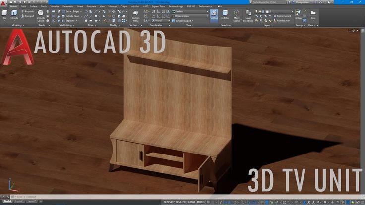 AutoCAD 3D Tv Ünitesi Çizimi (Basit)