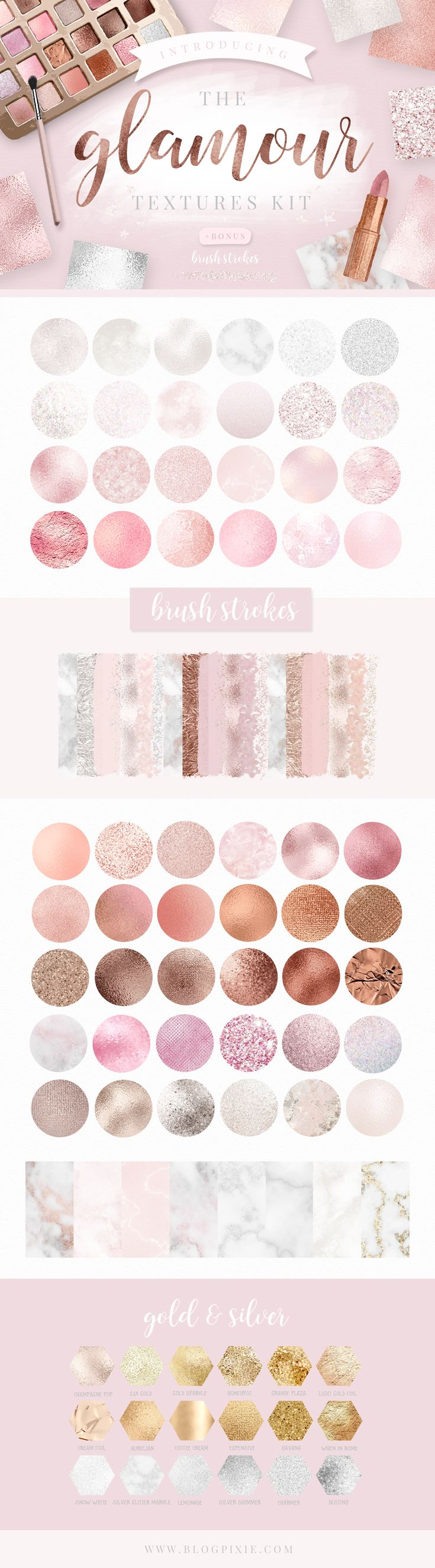 Download metallic textures and brush strokes in silver, marble, blush, rose gold and gold to add to graphic design, logos, branding, stationery, scrapbooking, blog design, eBooks and more! Click on the image to find The Glamour Textures Kit at Creative Market ♥