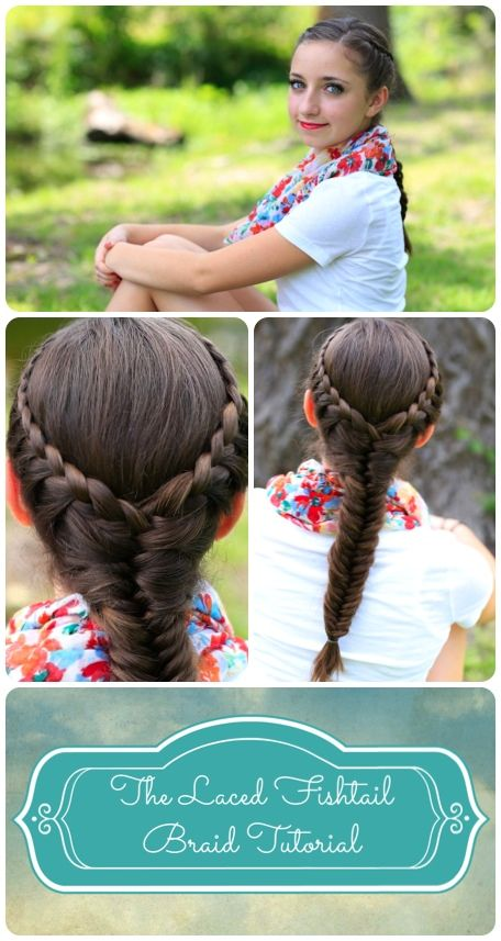Laced Fishtail Braid #hairstyle tutorial from #CuteGirlsHairstyles! {Video, written instructions, and more photos included...}