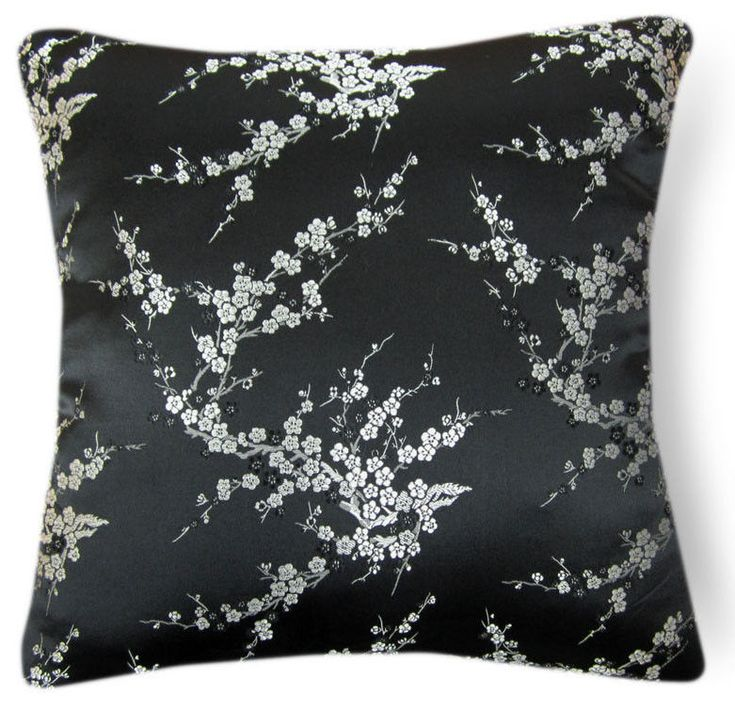 Silver Peach Blossom Rayon Brocade Cushion Cover