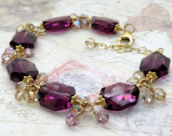 Purple Crystal Bracelet, Gold Filled, Amethyst, Plum, Champagne, Wedding, Handmade Jewelry, February Birthday. $135.00, via Etsy.