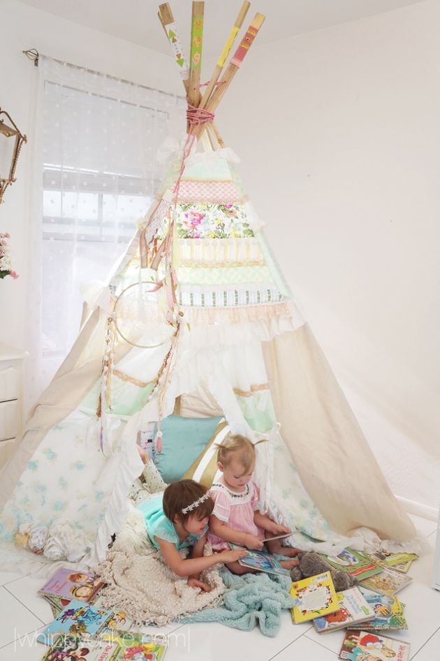 Story Time in a shabby chic teepee (tipi) - how adorable for a slumber party birthday party!