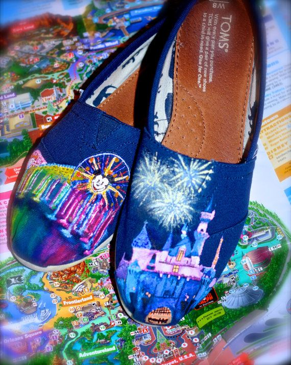 Disneyland Sleeping Beauty Castle World of Color Custom painted Disney TOMS Vans or other. Artwork and shoes included on Etsy, $125.00