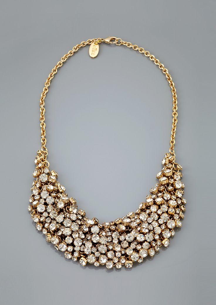Dramatic rhinestone cluster bib necklace