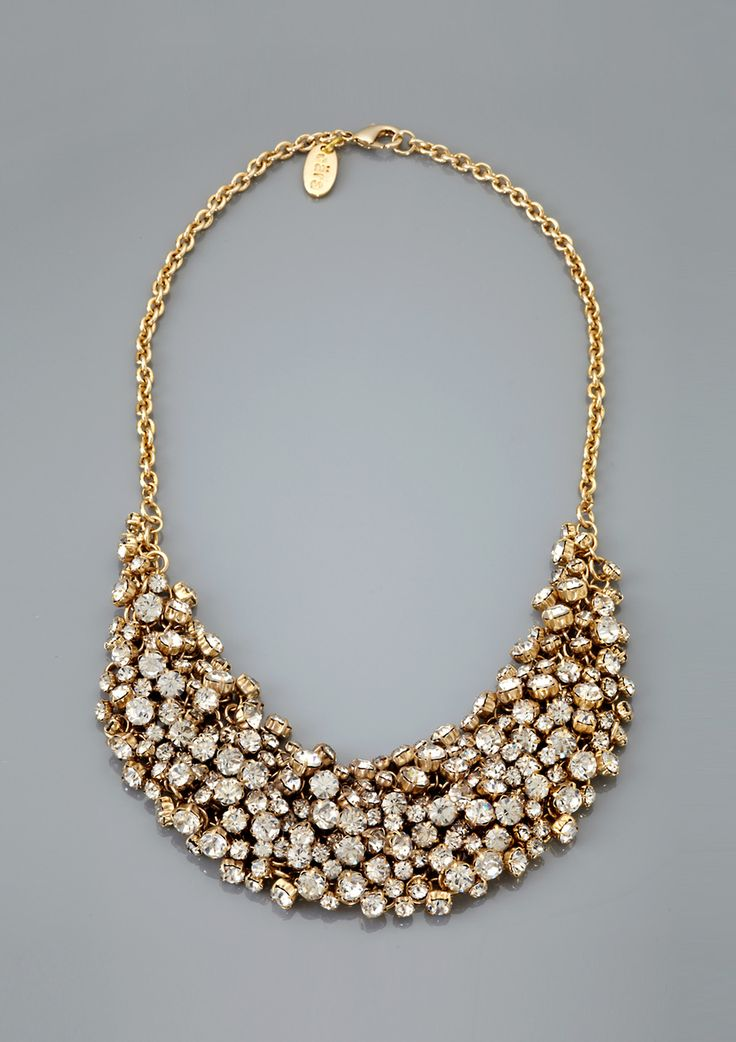 Dramatic rhinestone cluster bib necklace