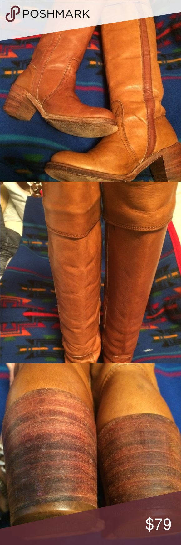 Womans vintage sz 6 knee high Frye boot Used look at pictures ,plenty of life left ,women's size 6B knee-high vintage fry boots Frye Shoes Heeled Boots