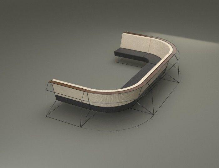 CONGRESS SOFA wide U shape sofa with metal wireframe structure by Sebastien Garcin www.sebastiengarcin.com