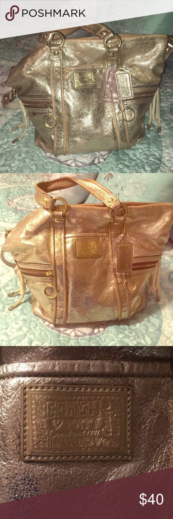 Gold Coach Poppy Purse {see description} Gold coach poppy purse - strap and inside needs to be cleaned. Please see photos for accurate condition Coach Bags Shoulder Bags