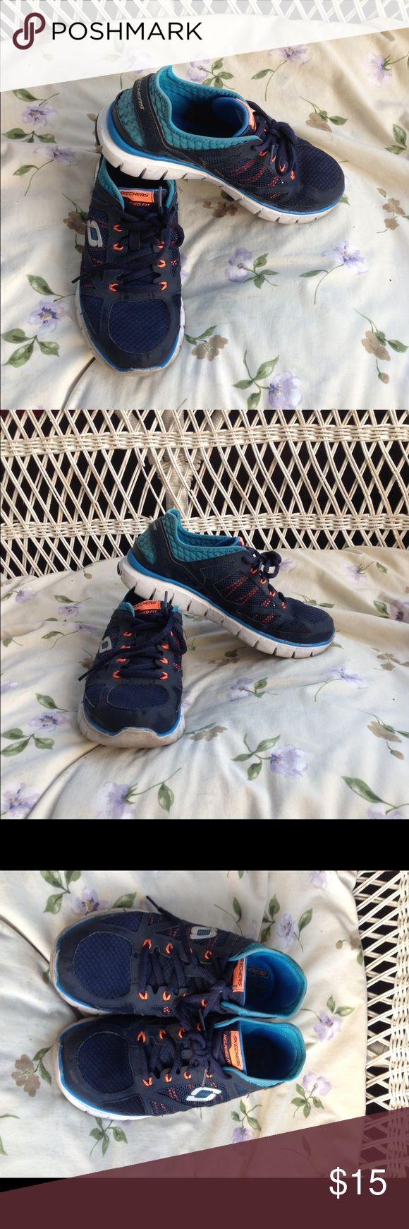 Sketchers walking shoes. Blue and orange men's Sketchers. Skechers Shoes Sneakers
