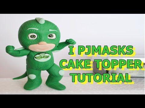 gekko pj masks cake topper fondant tutorial - super pigiamini in pasta di zucchero torta - YouTube
