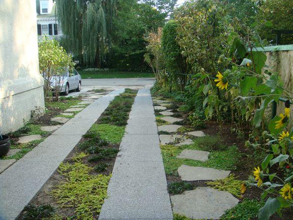 Recycled concrete can be pretty!: Yard Driveways, Gardens Ideas, Yard Gardens, Greener Driveways, Front Yard, Old Driveways, Concrete Recycled, Driveways Ideas, Concrete Grass