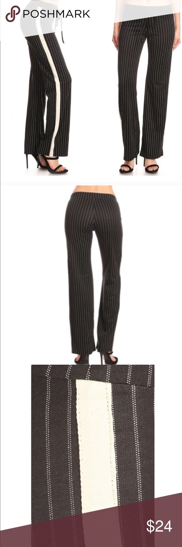 New Item Just In!!!! Stylish Linen Pants Black Linen Pants with a Cream Colored Stripes and a Wide Panel in Cream Color on The Side   They have an Elastic Waist and the legs flare for a sophisticated style Pants Wide Leg