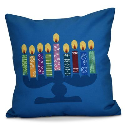 The Holiday Aisle Hanukkah 2016 Decorative Holiday Geometric Euro Pillow Color: Teal