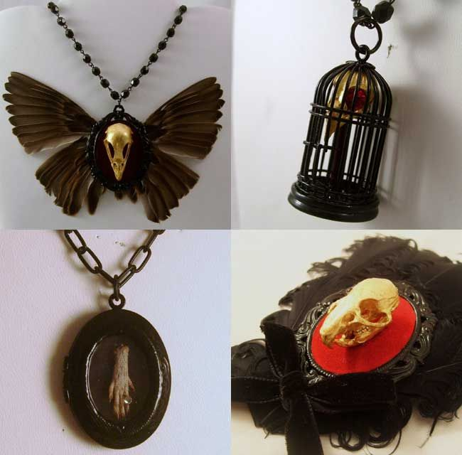 jewelery made from animal skulls and body parts