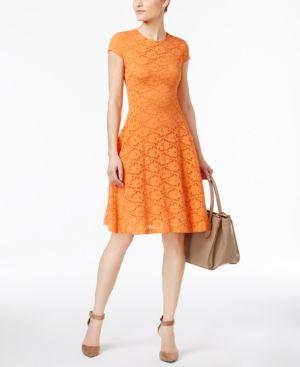 Alfani Petite Lace Fit & Flare Dress, Only at Macy's - Orange 10P