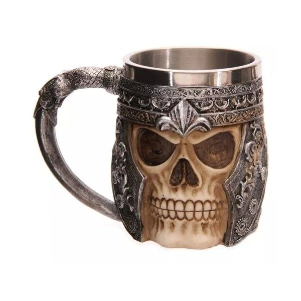 #2 Hot Unique Stainless Steel Liner Creepy 3D Skull Coffee Beer Milk... ($3.99) ❤ liked on Polyvore featuring home, kitchen & dining, drinkware, stainless steel coffee mug, coffee mugs, skull coffee mug, stainless coffee mug and beer mug