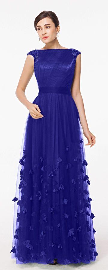 Blau Abendkleider lang bescheiden Abiballkleider