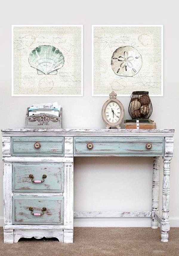 17 mejores ideas sobre escritorio de pintura tiza en for Muebles de mimbre pintados