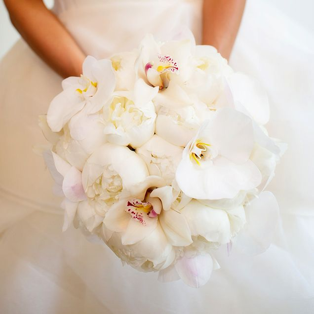 Posh Bridal Bouquet Featuring White Peonies, White Phalaenopsis Orchids & White Cymbidium Orchids^^^^