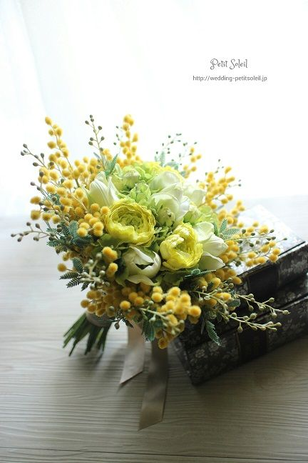 ブーケ イエロー || Unique Wedding Bouquet Arranged With: Tulips, Ranunculus, Yellow Mimosa Flower