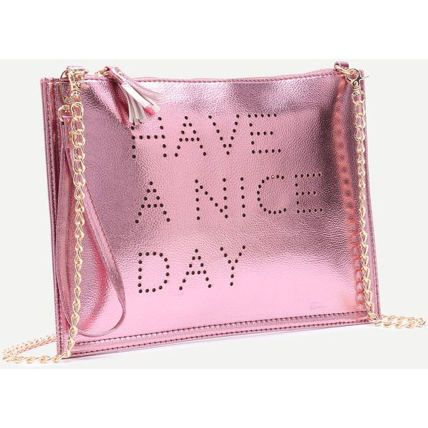 Rose Gold Hollow Out Words Tassel Clutch Bag With Chain ❤ liked on Polyvore featuring bags, handbags, clutches, rose gold purse, tassel handbags, pink clutches, pink purse and chain handbags