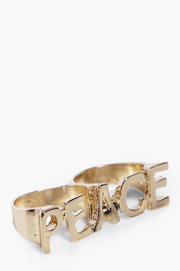 boohoo Lola Peace Slogan Double Ring