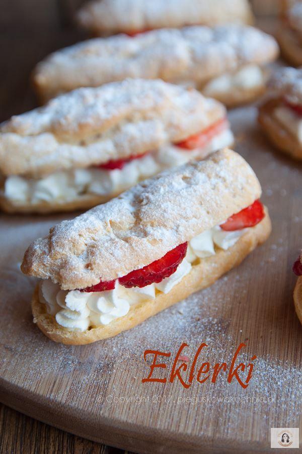 domowe eklerki #eclairs #strawberry #whipped cream