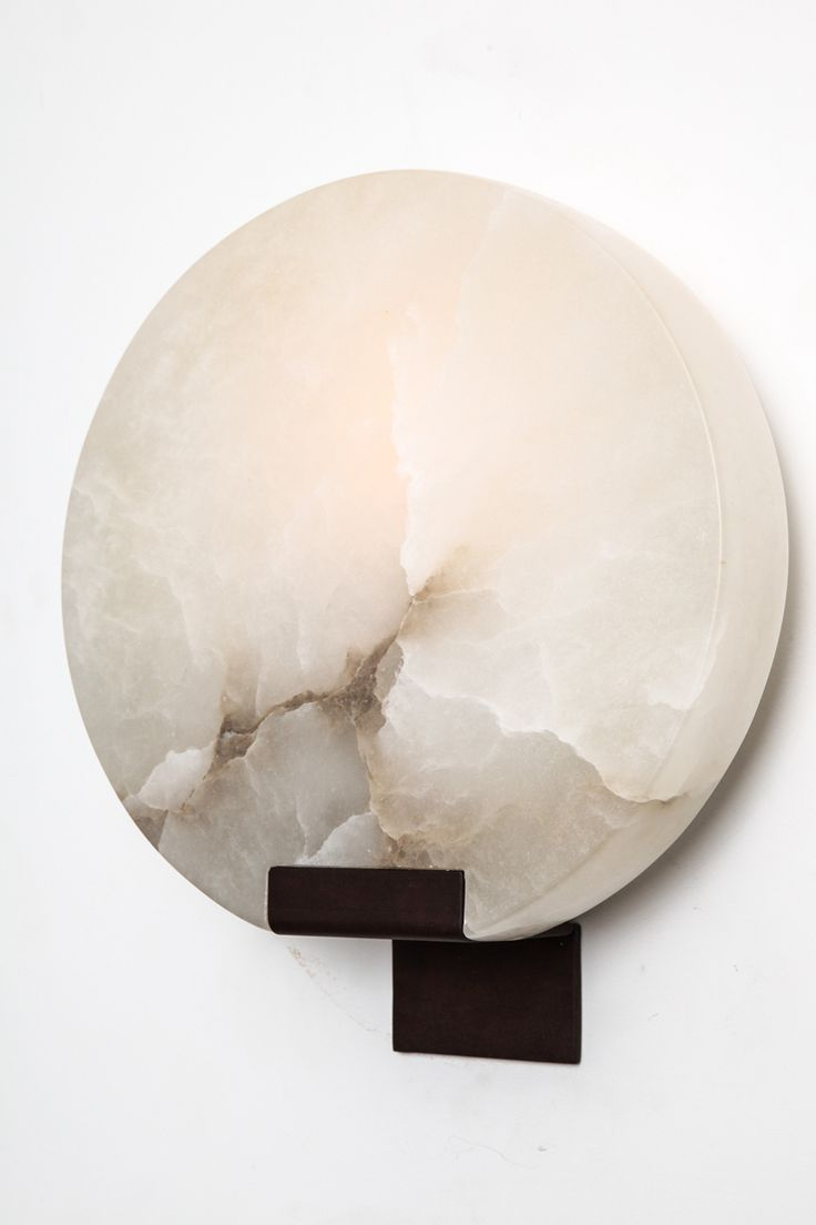 "1stdibs.com | Pair of Polished Veined Alabaster ""Moon"" Sconces by Stephen Downes"