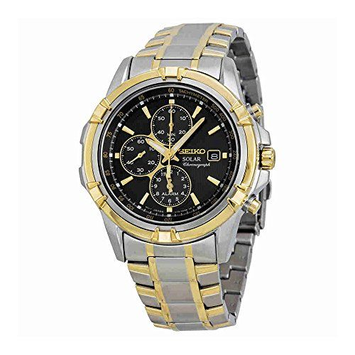 Seiko Solar Chronograph Black Dial Two-Tone Stainless Steel Mens Watch SSC142