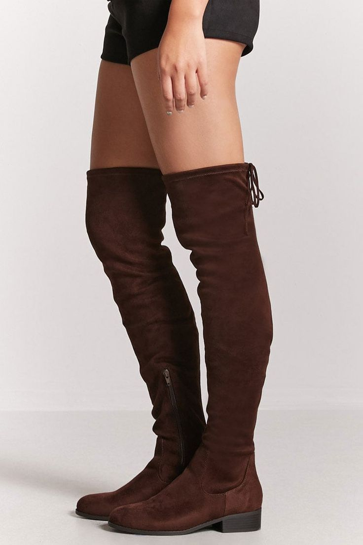 Faux Suede Thigh-High Boots. Forever 21