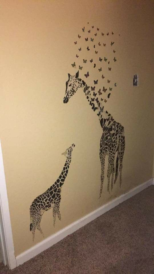 Giraffe wall art.