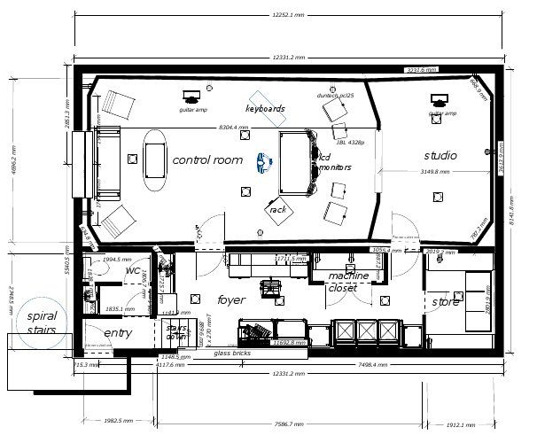 30 best recording studio plans layouts images on for Photography studio floor plans