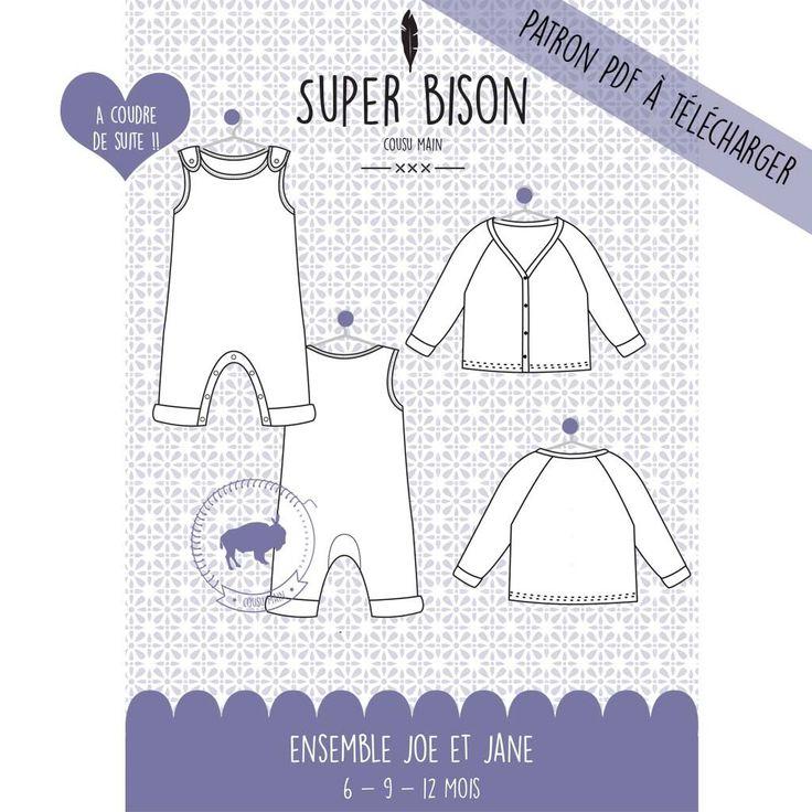 Patrons PDF ensemble bébé : veste Jane et combinaison bébé Joe (2 patrons)