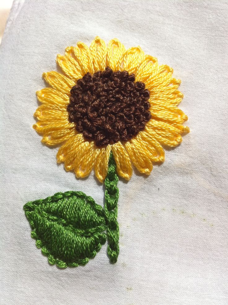 Embroidered sunflower