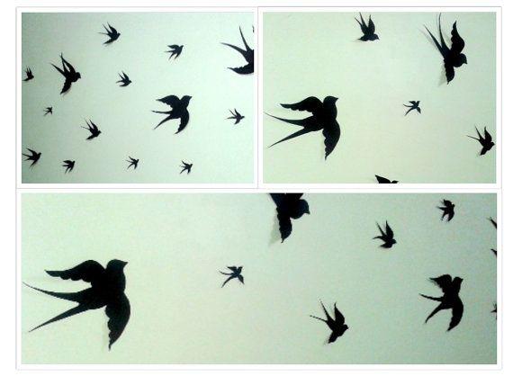 Paper Birds Wall Decor : Paper birds bird wall decal black decals nursery