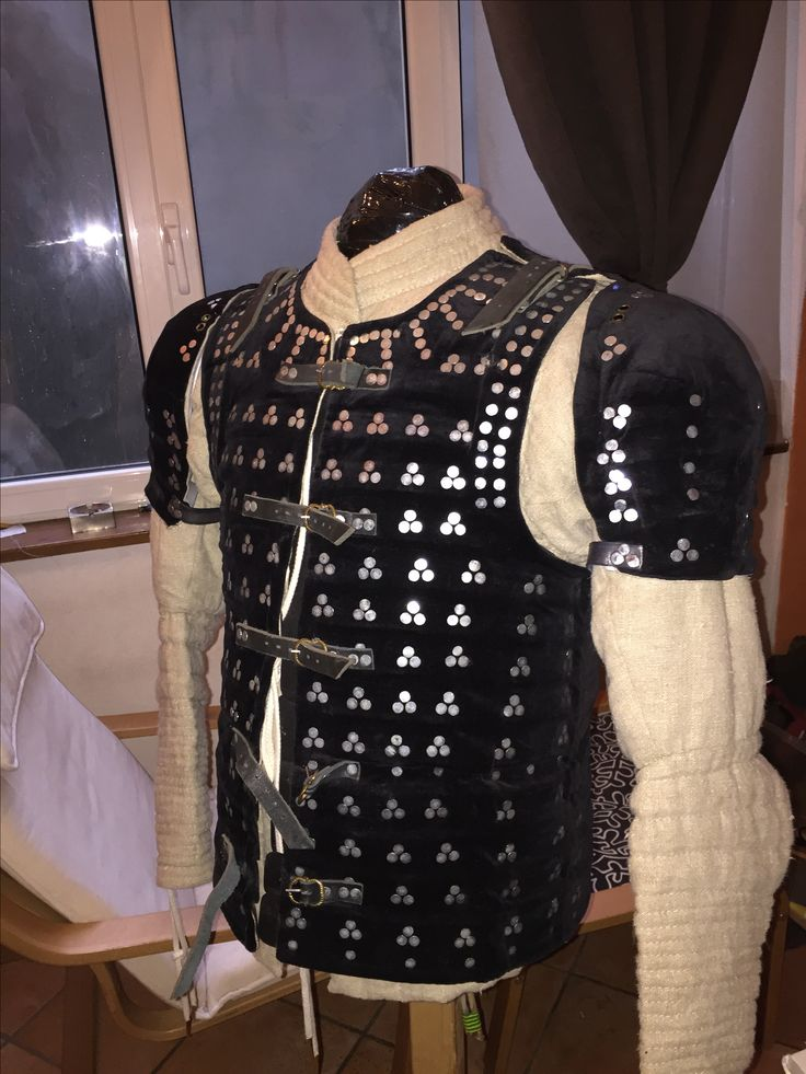 15th cent. Shoulders for brigandine Made on existing steel shoulders Made by Riccardo.